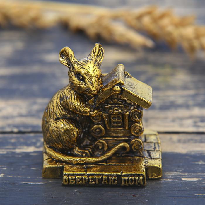"""Фигурка мышка """"Оберегаю дом"""", золото, 3,6 х 3,8 см"""