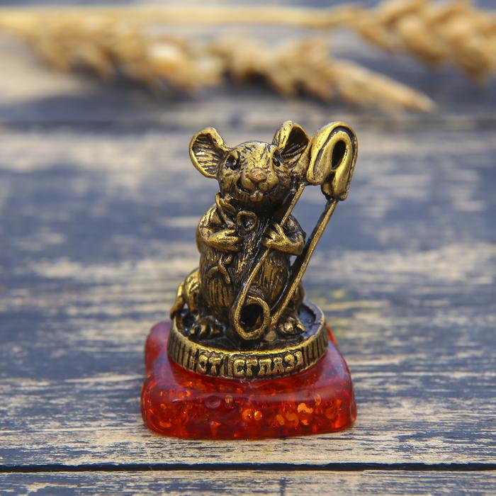 """Фигурка на камне мышка """"От сглаза"""", золото, 2,6 х 3,6 см"""