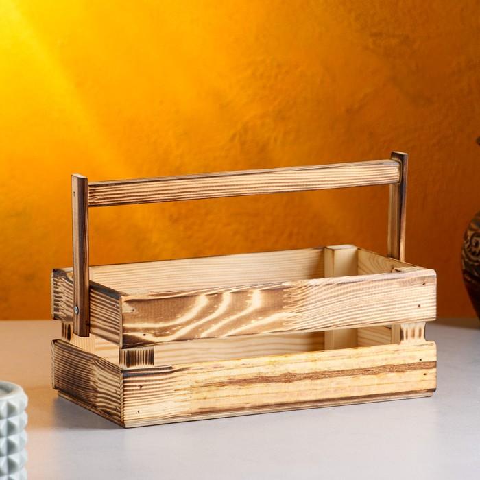 "Кашпо деревянное 24.5×13.5×9 см ""Двушка Лайт"", двухреечное, обжиг Дарим Красиво - фото 409176"