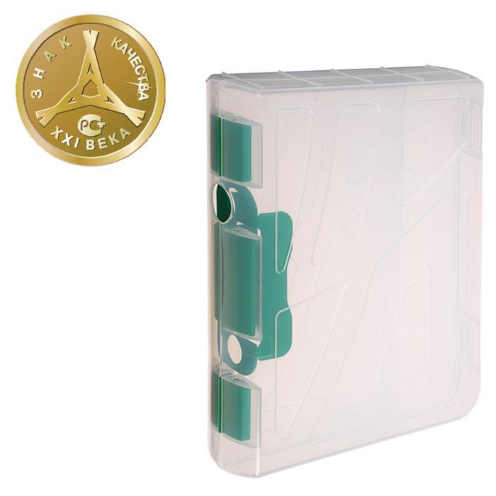 Папка-регистратор пластиковая А4 (317х270х73), 70 мм СТАММ, прозрачная, замок зелёный