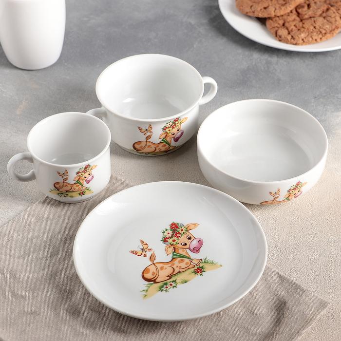Набор детской посуды, 4 предмета, МИКС