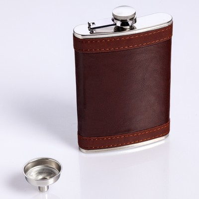 """Подарочный набор """"Бизнес"""" 6 в 1: фляжка 270 мл, воронка, 4 рюмки, коричневый, 17х23 см"""