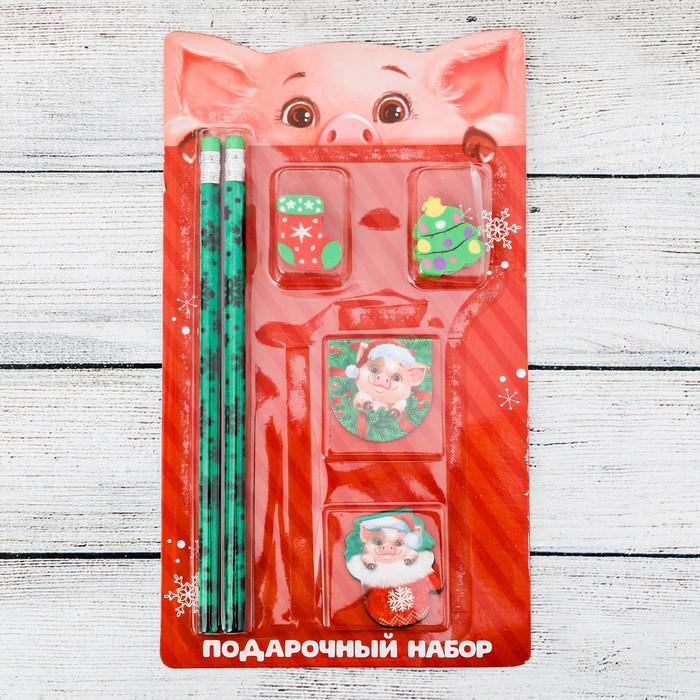"""Набор подарочный """"Подарок от свинки"""" карандаш, ластик, закладка по 2 шт."""