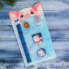 """Набор подарочный """"Новогодний"""" карандаш, ластик, закладка по 2 шт."""