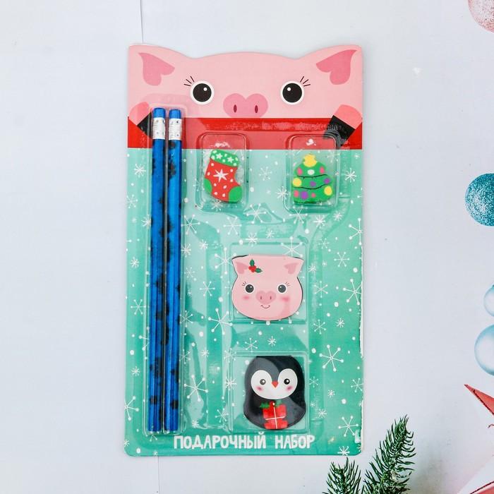 """Набор подарочный """"Свинка и снег"""" карандаш, ластик, закладка по 2 шт."""