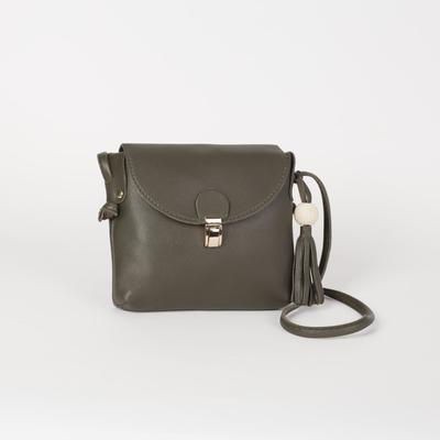 Bag, Department, with zipper, long strap, green