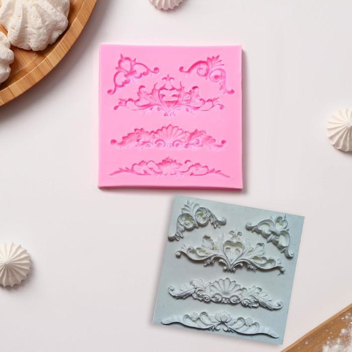 Молд силиконовый «Вензеля, лепнина», 10,5×10,5×0,7 см, цвет МИКС - фото 308041308