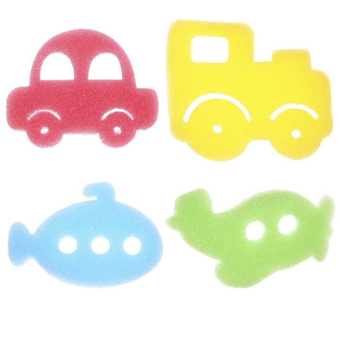 Игровой набор для купания детский «Транспорт», губка - мочалка, 4 шт.