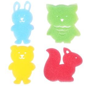 Игровой набор для купания детский «Лесные друзья», губка - мочалка, 4 шт