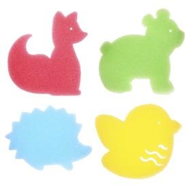 Игровой набор для купания детский «Зверята», губка - мочалка, 4 шт.
