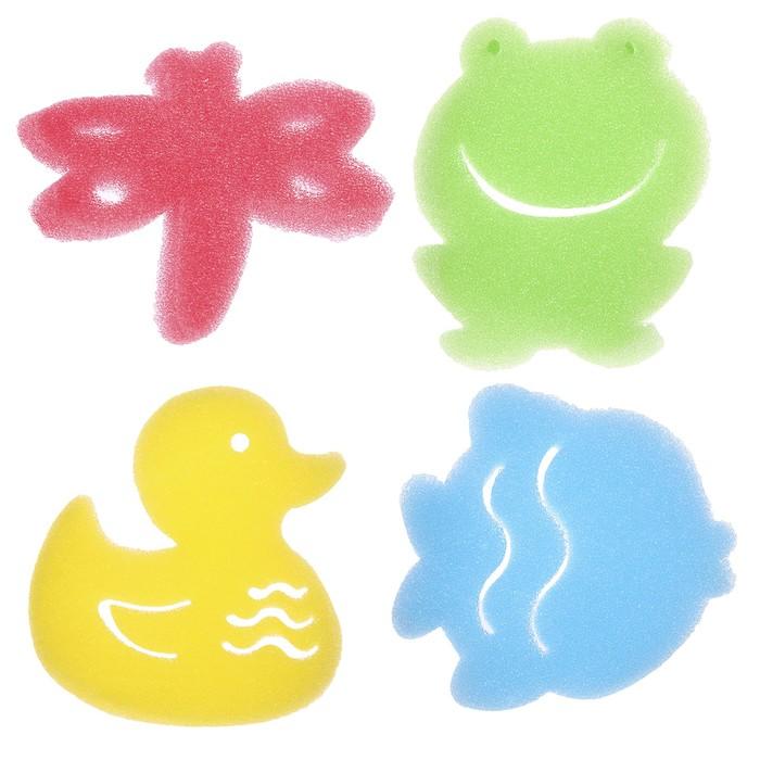 Игровой набор для купания детский «На пруду», губка - мочалка, 4 шт.
