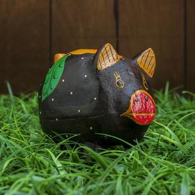 """Сувенир """"Копилка-свинка с листочком"""" 10х8х10 см"""