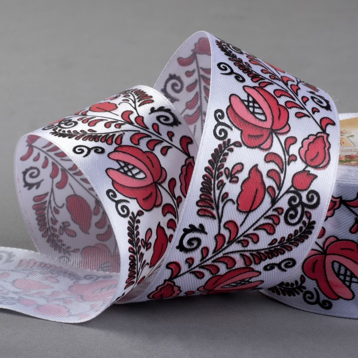 Лента атласная «Узор», 40 мм × 18 ± 1 м, цвет красный