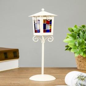 """Подсвечник металл на 1 свечу """"Уличный фонарь с витражными стёклами"""" белый 25х9,7х9,7 см"""