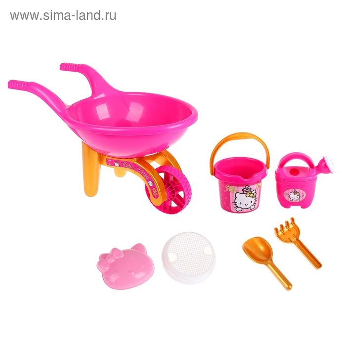 "Набор песочный Hello Kitty ""Принцесса"": ведерко, сито, лейка, тележка, формочка, лопатка, грабельки"