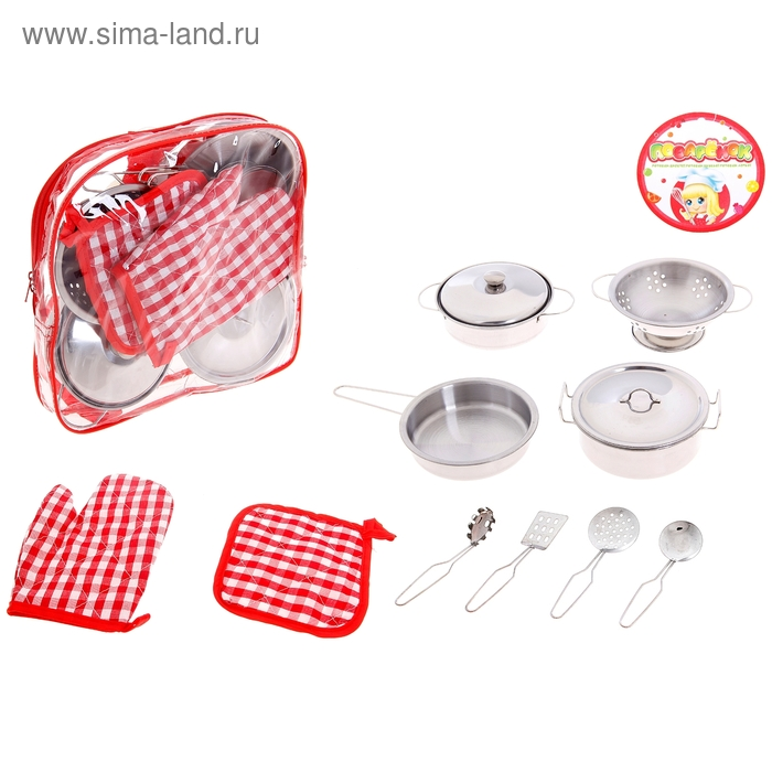 """Набор металлической посуды """"Поварёнок"""", 10 предметов"""
