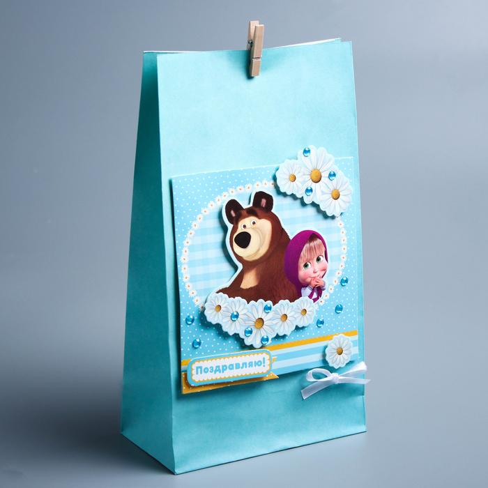 Пакет подарочный «Ромашки», набор для создания, Маша и Медведь