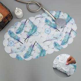 Коврик для ванны Доляна «Пёрышки», 38×67 см, МИКС