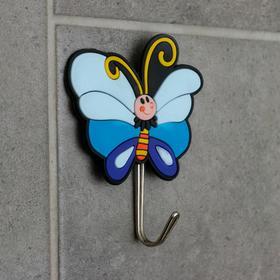 Крючок-наклейка «Бабочка», цвет синий Ош