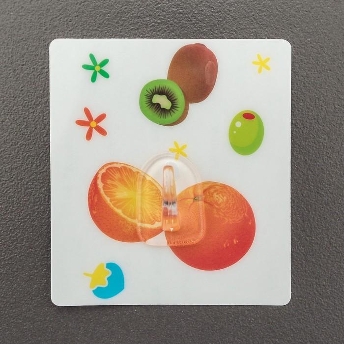 Крючок-наклейка «Фрукты, ягоды», рисунок МИКС