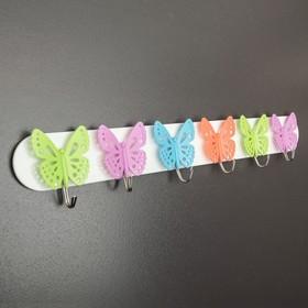 Вешалка настенная на 6 крючков «Бабочки», 39×7×2,5 см, цвет МИКС - фото 4641589