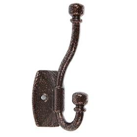 Крючок мебельный двухрожковый TUNDRA krep, КМ04SU, цвет медь на черном Ош