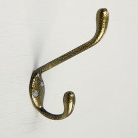 Крючок мебельный двухрожковый TUNDRA krep, КМ05BS, цвет золото на черном Ош