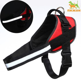 The reflective harness is soft on the neck, size XL, OSH 72±20 cm (Velcro), OG 70-88 cm, red