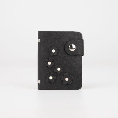 Business card holder, 28 cardholders, button, color black