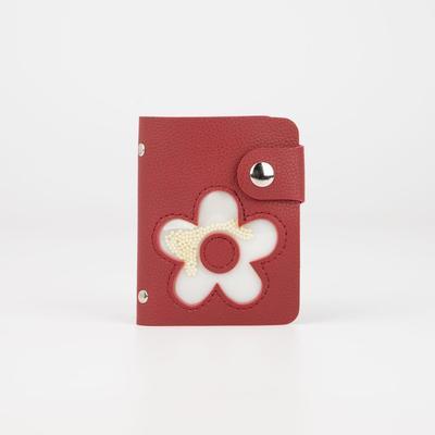 Визитница, 28 картхолдеров, на кнопке, цвет красный