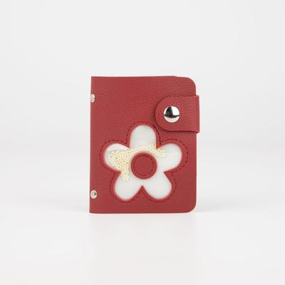 Business card holder, 28 cardholders, button, color red