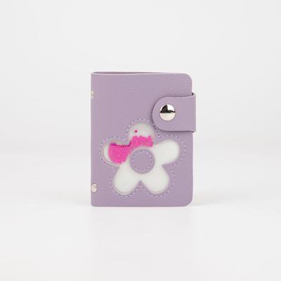 Визитница, 28 картхолдеров, на кнопке, цвет фиолетовый