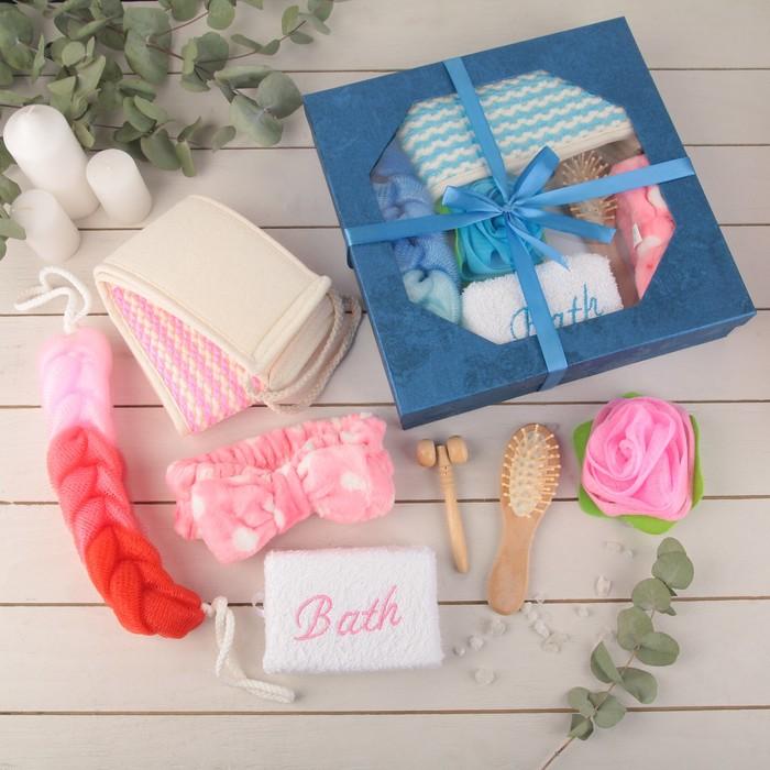 Набор банный, 7 предметов: 4 мочалки, повязка на голову, расчёска, массажёр