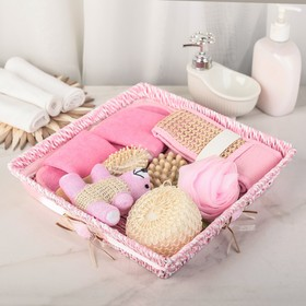 Набор банный, 7 предметов: 4 мочалки, тапочки, расчёска, массажёр, цвет МИКС
