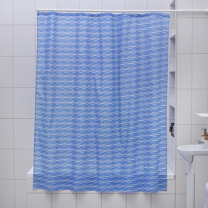 """Штора для ванной 180×180 см """"Бриз"""", цвет синий"""