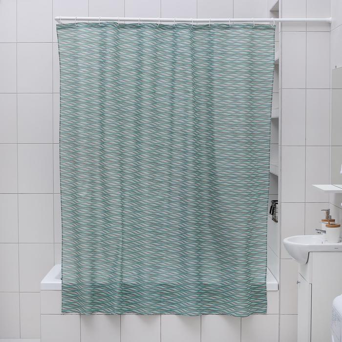 Штора для ванной комнаты Доляна «Бриз», 180×180 см, полиэстер, цвет зелёный