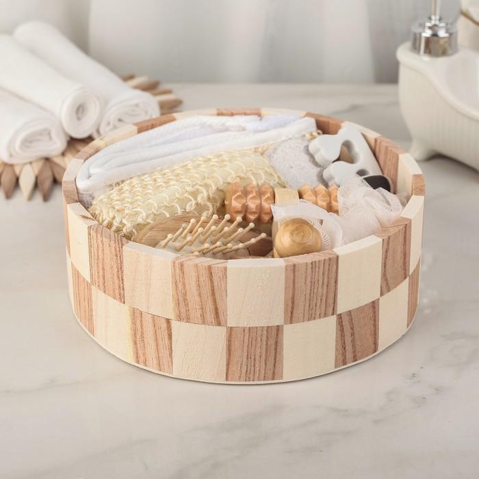 Набор банный, 8 предметов: 3 мочалки, пемза, массажёр, расчёска, полировка, спонж для педикюра