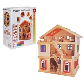 Кукольный дом трёхэтажный с мебелью и 4 куклами