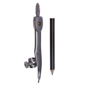 Циркуль металлический с карандашом 125 мм, в пластиковом пенале (козья ножка), МИКС