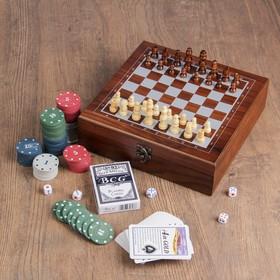 Набор шахмат с покером, 100 фишек, 2 колоды, 5 кубиков 1,3×1,3 см, пешка 2 см, ферзь 4,5см