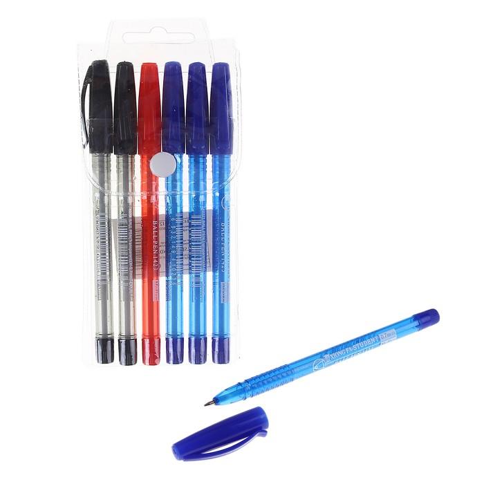 Набор ручек шариковых 06шт ECO 0,7мм (3шт - синие,2шт - черные,1шт - красная)