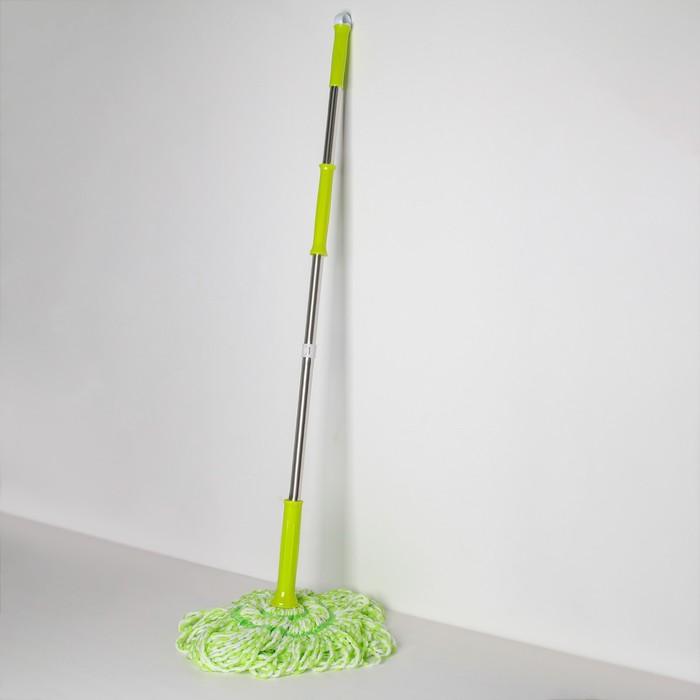 Швабра с отжимом Доляна, стальная ручка 130 см, насадка из микрофибры, цвет МИКС