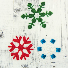 """The sticker on the glass """"Snowflakes"""" 10 cm, 8.5 cm, 7 cm, green, red, blue"""