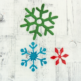 """The sticker on the glass """"Snowflakes"""" 11 cm, 8.5 cm, 5.5 cm, red, blue, green"""