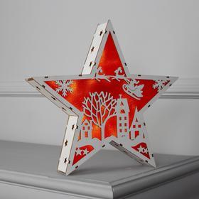"""Фигура дерев. """"Звезда Двор и Олени"""", 22х22х4 см, AАA*2 (не в компл.), 6 LED, красный фон"""