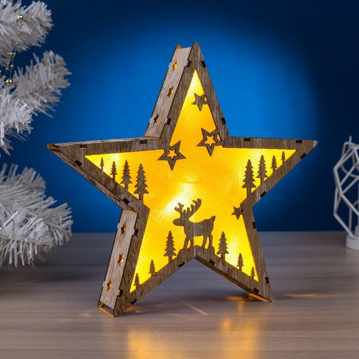 "Фигура деревянная ""Звезда Олень"", 22х22х4 см, 2*AАA (не в компл.) 6 LED, серый фон"