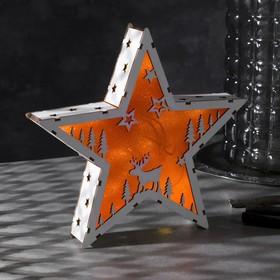 "Фигура дерев. ""Звезда Олень"", 22х22х4 см, AАA*2 (не в компл.), 6 LED, красный фон"