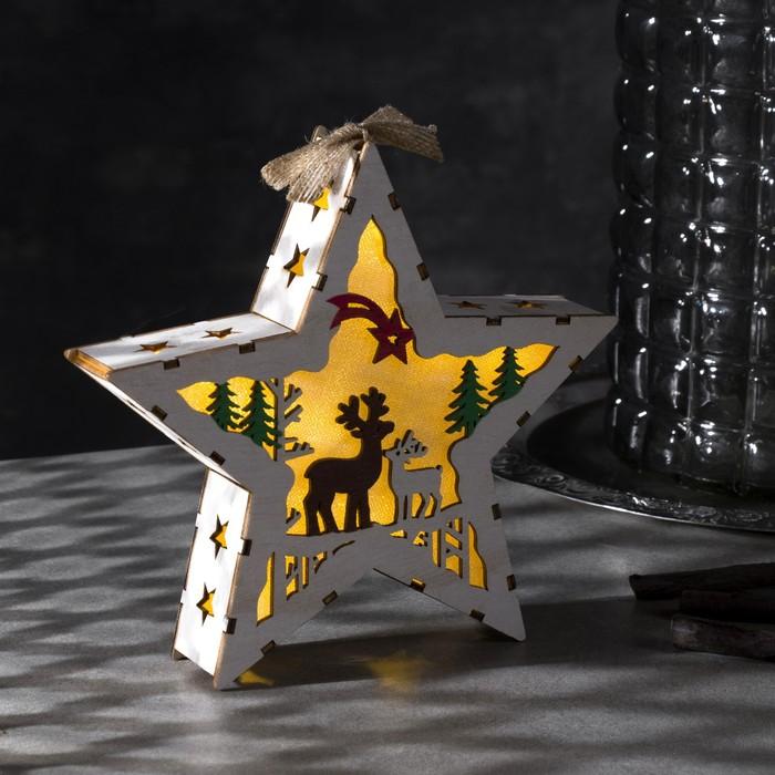 """Фигура деревянная """"Звезда Олени"""", 19х19х4 см, 2*AA (не в компл.) 5 LED, белая"""