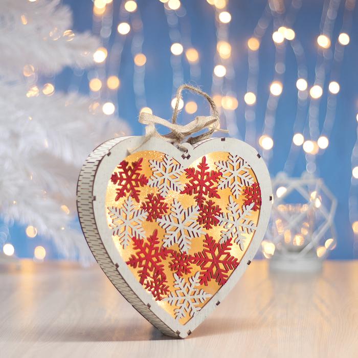 """Фигура деревянная """"Сердце Снежинки"""", 19х19х3.5 см, 2*AA (не в компл.) 5 LED, белое - фото 728336229"""