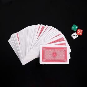 Покер, набор для игры: 3 кубика 1.5х1.5см, колода карт 54шт, 5.5х10.5 см
